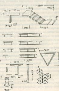 Архитекторектурная разработка вариантного объёмного блока-модуля из 6 стандартных элементов. Новый Артек, 60-е — 70-е годы. Коллектив под руководством архитектор. А. Т. Полянского