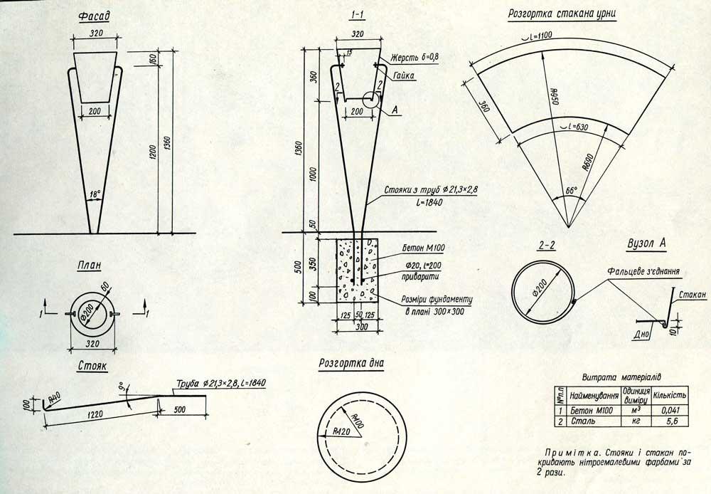Урна зонтик чертеж построить