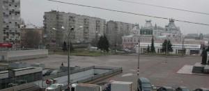 """Вид на старое здание ярмарки с балкона отеля """"Центральный""""."""
