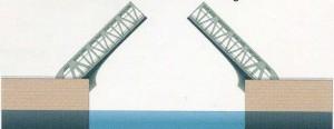 Double-leaf bascule bridge