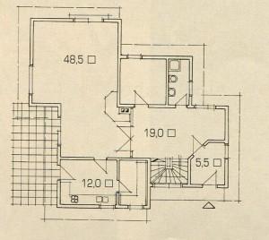 План 1 этажа дома с односкатной крышей