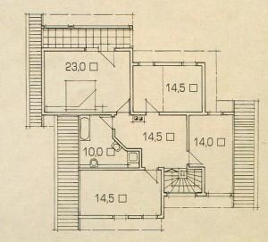 План второго этажа дома с односкатной крышей