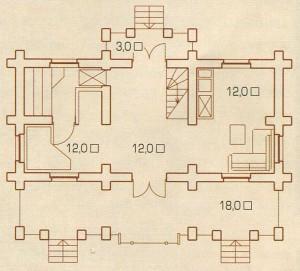 План первого этажа русского дома.