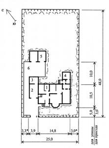 Генплан усадьбы с 4-комнатным жилым домом (пример застройки)