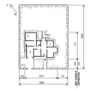 Генплан усадьбы с мансардным 6-комнатным коттеджем