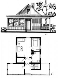 Одноэтажный двухкомнатный садовый домик с мансардой (индивидуальный проект)