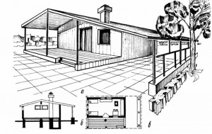 Однокомнатный щитовой домик с террасой и навесом для автомашин