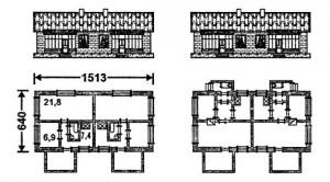 Типовой проект одноэтажного двухквартирного жилого дома с центральным отоплением, водопроводом и канализацией