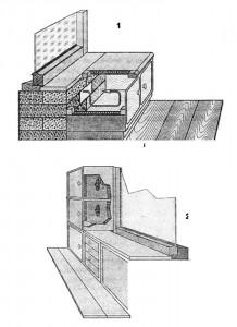 Кухонные пристенные естественные холодильники: 1 - подоконный; 2 - угловой