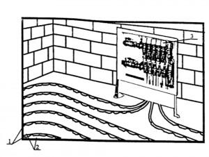 Фрагмент водяной системы обогрева