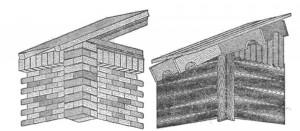 Детали карнизов и фронтонов жилых домов из кирпича и дерева