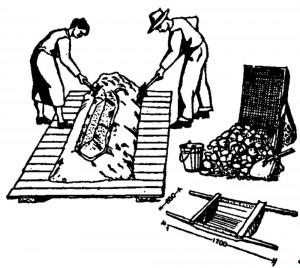 Боек для приготовления бетона и носилки для бетона с металлическим днищем