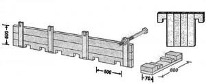 Типы опалубок, применяемых для устройства бетонных стен:  опалубка с болтами и деревянными подкладками оставляемыми в бетоне
