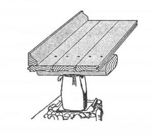 Устройство полов первого этажа: холодный пол из 25-миллиметровых досол в четверть по косому настилу и картону