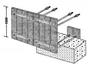 Опалубка из вертикальных щитов у соединяемых скобами