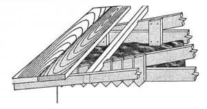 Конструктивное устройство плоской крыши (видны отверстия продухов)