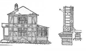 Сечение стены фахверкового дома ; а - гиту ка-турка (2 см); б - кирпичное заполнение (вполкирпича); в - фибролит или сухая древесно- волокнистая гиту кату рка (16 - 20 мм), камышит