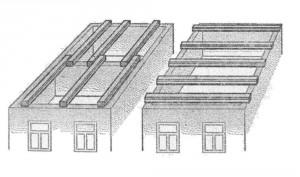 Размещение балок чердачных (междуэтажных) перекрытий на стенах