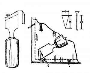 Резка и вставка стекол: слева - стамеска для замазывания и забивки гипилек; справа - забивка шпилек и косячков в переплет
