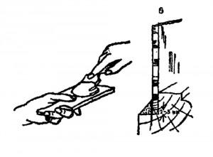 Резка и вставка стекол: установка нижнего ребра на замазку