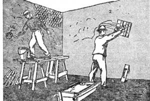 Мокрая штукатурка помещения: 1 - производство набрызга; 2 - нанесение грунта соколом