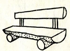 скамья из половинок ствола распиленного вдоль на две равные части