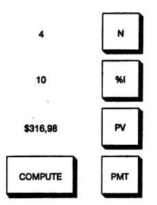 калькулятора, используемые для расчета платежа по амортизации кредита при ставке 10%, основной сумме 316,98 долларов и равных выплатах в течение 4 лет