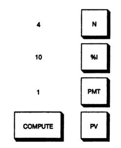 Расчет с помощью калькулятора накопления единицы за период при 4 периодах, ставке 10%