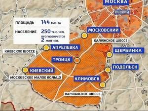 Новая Москва на карте