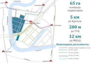 Пешеходная доступность нового района Зил