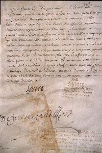 Патентное письмо, выданное Королевской зеркальной мануфактуре и подписанное Людовиком XIV