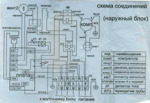Схема соединения  кондиционера