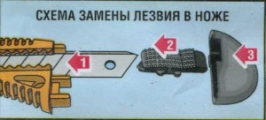 Схема замены лезвия в ноже