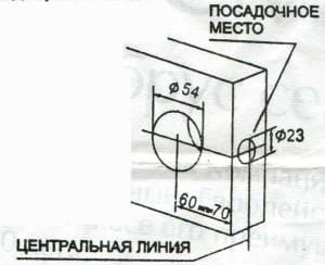 Разметка двери и высверливание отверстий при штатной установке механизма защелки