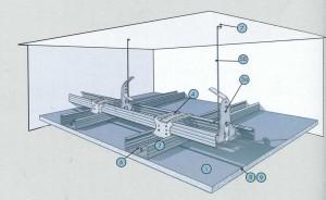Подвесной потолок из негорючих плит КНАУФ-Файерборд на двухуровневом металлическом каркасе