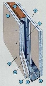 Перегородка с двухслойными обшивками из плиты АКВАПАНЕЛЬ® Внутренняя на одинарном металлическом каркасаПерегородка с двухслойными обшивками из плиты АКВАПАНЕЛЬ® Внутренняя на одинарном металлическом каркаса