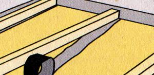 Для изоляции ровной поверхности положить лаги поверх джутовых лент.