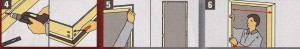 Перед сборкой дверной коробки, расположите на ровной поверхности (подстиле) все необходимые части, затем закрепите их в углах с помощью винтов, скреп и клея в зависимости от вида дверной коробки.