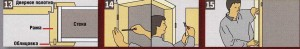 Нанесите клей на шпунт и осторожно прижмите обшивочный гребень. 14. После высыхания можно навесить дверное полотно. Затем выровняйте
