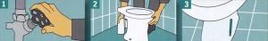 Перед демонстрированием старого унитаза и смывного бачка перекройте кран подачи воды и осушите смывной бачок вместе с каналами для подачи воды