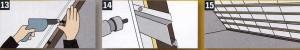 Наклейте уплотнительную ленту на стационарный элемент строительной конструкции, наложите на него выступающую часть пленки, прижмите рейкой. Затем приверните болтами и обрежьте излишки пленки. 14. В качестве несущей конструкции для кровельной обшивки, как правило, используются деревянные рейки. В качестве альтернативы можно использовать алюминиевый профиль