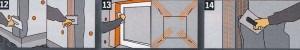 Произведите обмер пригоняемых изоляционных плит и откосов и раскроите их. Углы отверстий должны постоянно находиться в пределах изолирующей плиты
