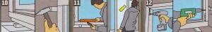 Подставьте подпорки под оконную раму. и. выровняв, поставьте в оконный проём, затем со всех сторон зафиксируйте клиньями