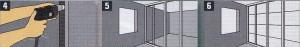 тенные профили (стоечные профили) вставляются сверху и снизу в направляющие профили и крепятся к стене через каждые 50 см. 5. Вставьте стоечные профили сначала в нижние, а затем в верхние направляющие профили и выровняйте в вертикальном направлений примерно через каждые 60 см (это расстояние зависит от размера панелей и направления при установке). 6. Панели из гипсокартона/панели Fermacell могут устанавливаться как в горизонтальном, так и в вертикальном положении.