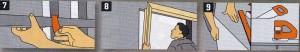 дверей отрежьте специальный профиль для дверной перемычки на нужную ширину и соедините его с помощью скобы для крепления с другими стойками. 8. Для установки двери нужно использовать независимый каркас дверного проема. Точно следуйте инструкции. 9, Выполните раскрой панелей из гипсокартона (минимальной толщиной 12,5 мм):