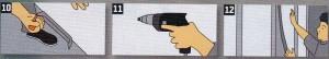 Выровняйте кромки с помощью кромочного рубанка под прямым и под косым углом Слегка скосите переднюю сторону верхней кромки, чтобы можно было залить раствор для заливки швов, 11. Привинтите панели (лицевая сторона стены) к профилям с помощью саморезов через каждые 25 см. Для обеспечения акустической развязки выдержите расстояние от пола, потолка и стены -10 мм. 12. Полое пространство в стене можно заполнить изоляционными плитами (из минерального волокна) с целью обеспечения шуме- и теплозащиты