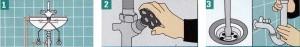 Перед покупкой измерьте раковину: общую ширину, расстояние между креплениями, расстояние от места слива и подвода воды, расстояние