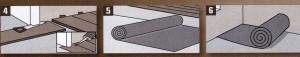 Укоротите нижнюю часть дверной коробки с помощью ножовки по толщине паркетной доски плюс изоляционный слой. При необходимости отрегулируйте дверь с помощью колец-прокладок или обстругайте ее снизу. 5. Используйте полиэтиленовую пленку