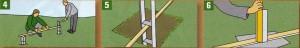 Выровняйте высоту установленных гильз для столбов с помощью деревянного бруска и уровня. В качестве альтернативы используйте анкерное основание столба (например
