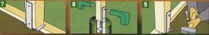 Столб должен быть примерно на 10 см выше уровня забора. Проверьте просверленные отверстия и ввинтите соединительные болты